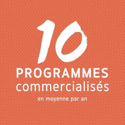 10 programmes commercialisés en moyenne par an